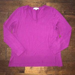 LOFT Magenta V-Neck Sweater